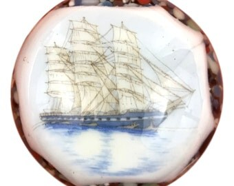 Glass Paperweight Sailing Ship Image Vintage