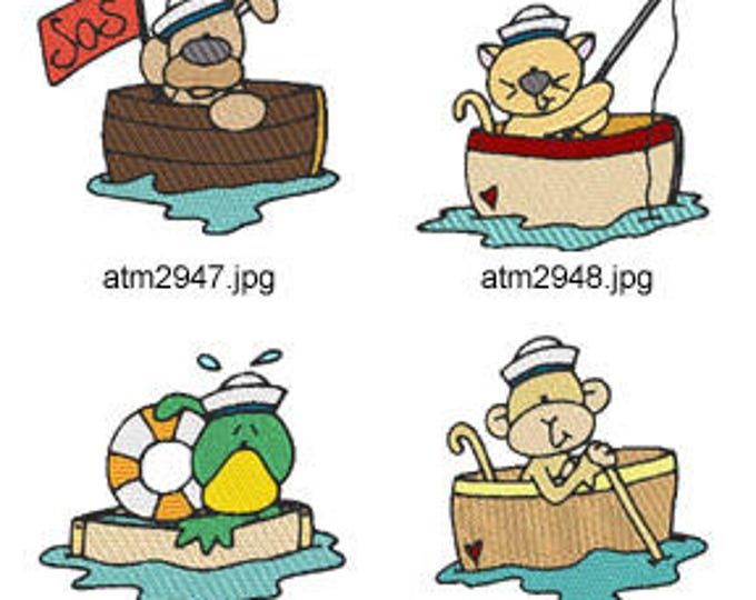 Sailboat-Critters ( 7 Machine Embroidery Designs from ATW ) XYZ17D