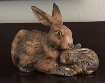 GOEBEL W. GERMANY Vintage 1975 Brown Bunny Rabbit, Mother and Baby Figurine #34-301