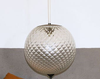Suspensions vintage globe structured glass pointed diamond of the 1950s