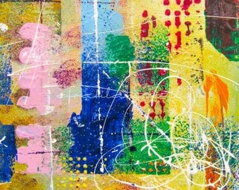 Colorful Drops & Shapes - Abstract - painting reproduction rolled canvas print