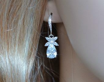 Handmade White Topaz & CZ Teardrop Dangle Bridal Earrings, Bridal, Wedding (Sparkle-2683)