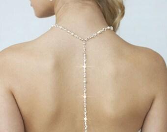 Handmade Swarovski Pearl & Swarovski Crystal Back Necklace, Bridal, Wedding (Pearl-381-A)