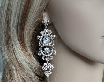 Dramatic Vintage Inspired Crystal Rhinestone and Pearl Long Chandelier Dangle Earrings, Bridal, Wedding (Pearl-754)