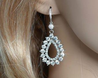 Handmade Vintage Inspired Crystal Rhinestone & CZ Teardrop Dangle Earrings, Bridal, Wedding (Sparkle-2299)