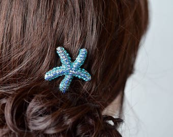 Handmade Turquoise Aqua Crystal Rhinestone Starfish Hair Clip, Bridal, Wedding (Sparkle-2725)