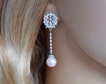 Handmade Fancy Cut Cubic Zirconia CZ & Swarovski Pearl Long Dangle Bridal Earrings, Bridal, Wedding (Pearl-805)