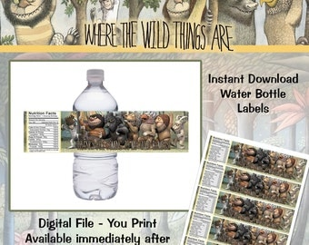 Instant Download! Where the Wild Things Are Water Bottle Labels