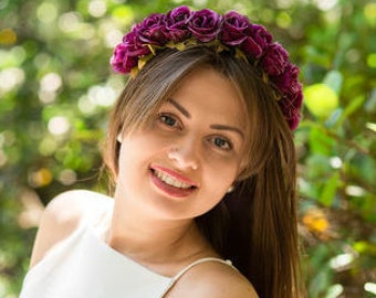 Girls Floral Headband, halo engagement headbands, Floral crown, Flowers Headband, bridal floral headband, flower halo, floral halo