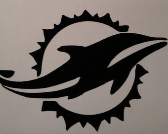 Miami Dolphins Football Decal - permanent vinyl - perfect for Yeti & Rtic cups, coolers, windows, man cave decor etc.  Take it tail gating!