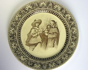 Antique / 1908 / Royal Doulton Plate / Wall Plate / Wall Plaque / Jovial Monk Series Ware / Charles Noke / Doulton Series Ware / Collectable