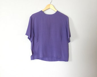 SALE...lavender silk crop top | pin tucked silk blouse