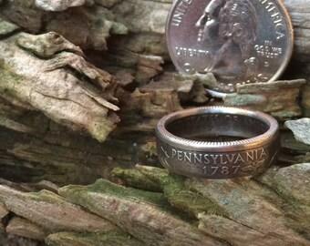 Pennsylvania state quarter coin ring