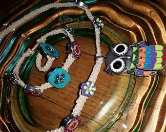 Handmade, hemp Owl pendant Necklace with matching Bracelet & Ring. 3-Piece Set.