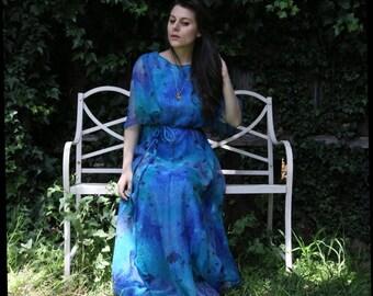 Gorgeous 70s Vintage Blue Chiffon Gown
