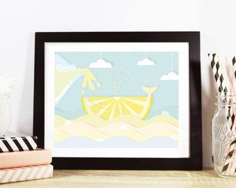 "Lemonade Whale Print 8"" x 10"", Nursery Print, Nursery Decor"