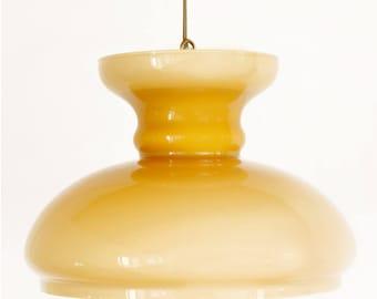 Ochre yellow glass pendant light   Ocher yellow glass pendant lamp