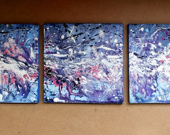 Contemporary triptych original acrylic painting 12x36in, gift idea , Wall decor, Fine Art canvas art