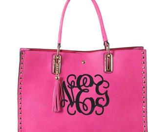 Monogrammed tassel gold 2in1 tote bag, Personalized purse in Fuschia