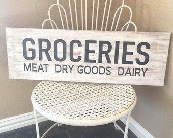 GROCERIES Sign, Kitchen Sign, Rustic Sign, Distressed Sign, Fixer Upper Decor, Farmhouse Decor, Wall Decor