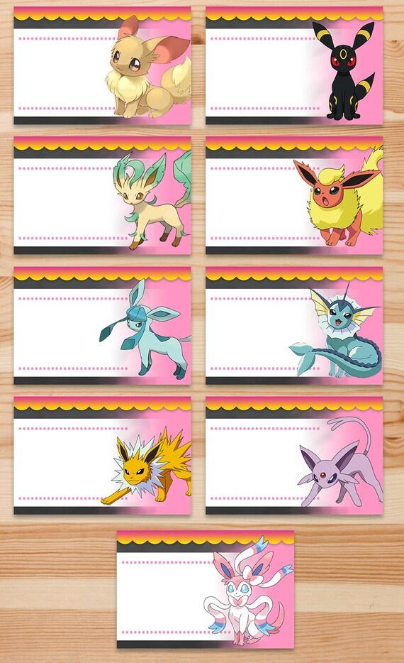 Pokemon Eevee Food Tents - Pink Chalkboard - Girl Pokemon Eevee Food Labels - Girl Pokemon Party - Pokemon Printables - Pokemon Place Cards
