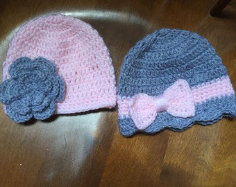 Two Homemade Crocheted Baby Girl Hats (Newborn - 5yrs)