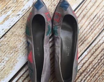 Stephane Kelian vintage gray southwester chic leather flats