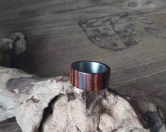 Titanium ring with ironwood