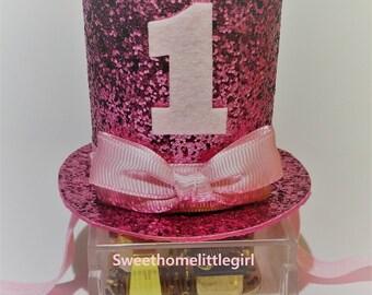1st birthday,glitter pink felt,pink top hat,baby mini top hat,chunky pink glitter hat,birthday hat,pink ribbon