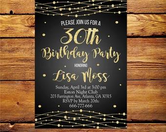 30th birthday invitation women,30th birthday invitation,Thirty and fabulous,Women 30th 40th 50th 60th 70th  Invite,Glitter Invitation