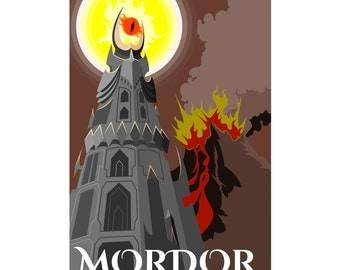 Fantasy Art Middle Earth Poster Mordor Travel Poster
