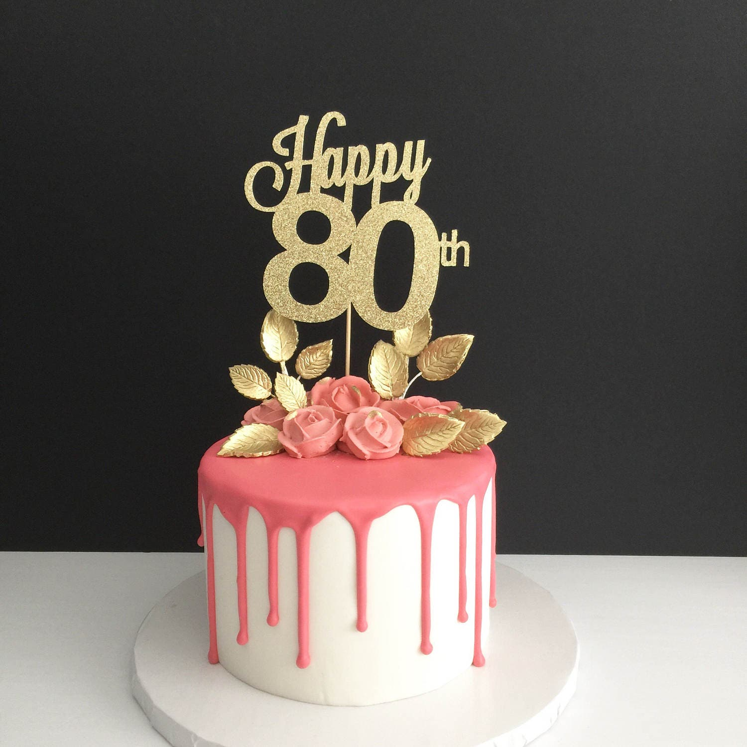 Any Age 80th Birthday Cake Topper Happy 80th Cake Topper