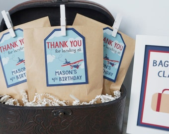 Vintage Airplane Favor Tags, Airplane Birthday Party, Retro Airplane, Favor Tags, Gift Tags- SET OF 12