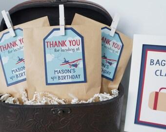 Vintage Airplane Favor Tags, Airplane Birthday Party, Retro Airplane, Favor Tags, Gift Tags- Digital Option