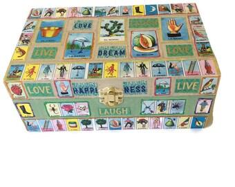 Mexican Bingo,Loteria Game,Mexican Loteria,Dia De Los Muertos,Jewelry storage,Loteria,Loteria Cards,Loteria Jewelry box,wooden jewelry box