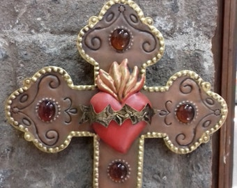 LOVE Sacret heart amber glass copper and gold tin red heart wall decor vintage look hand made by metal worker Mexican artist