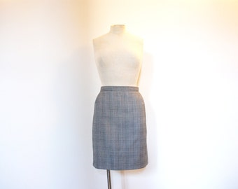 Vintage 80s Black and White Checked Houndstooth Skirt - Medium