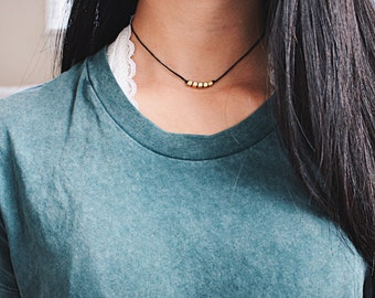 gold beaded cord choker - gold beads, black cord, minimal, delicate, dainty