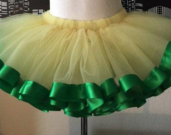 Yellow and Green Teen and Adult Tutu Skirt, Plus Size, Adult, Teen, Custom Size, Oregon Ducks Colors Tutu, Halloween, Parties, Dance