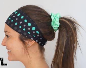 Black polka dot head band / gray, headband, woman accessory