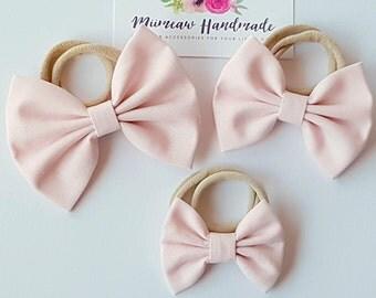 Fabric Bow Headband, hair Clip, Nylon Headband, Bow Hair Clip , Girls Hair Clip - Baby Pink Bow, Choose Headband or Clip