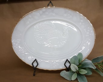 Milk Glass Platter for Turkey Holiday Thanksgiving Christmas or Easter Anchor Hocking Ovenproof
