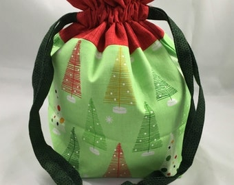 Project Bag for Knitting, Small Drawstring, Tote Bag, Travel, Toiletry, Make-Up, Kids Purse, Gift- Modern Christmas Trees with Red Accent