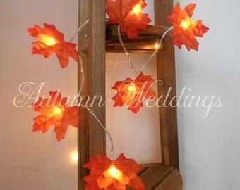 Autumn Fairy Lights 1-10m String Lights - Autumn Leaves Wedding Decorations - Battery Operated - LED - Orange Leaf Bedroom Wedding Decor