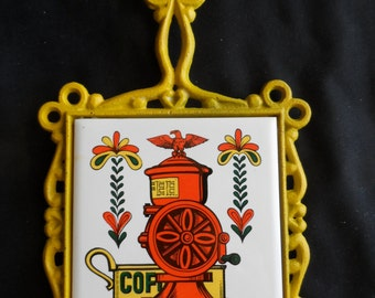Vintage Mid Century Metal And Tile Trivet  Wall Decor Coffee Mill Yellow, orange, green    1059