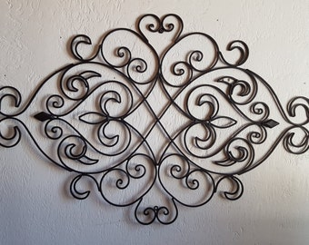 wrought iron wall decor fleur de lis wall decor wrought iron headboard large - Large Metal Wall Decor