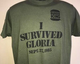 80s Burger King Shirt Vintage Rare Tee Hurricane Gloria I Survived Misson September 1985 Whopper McDonalds Screen Stars Promo Relief Donate