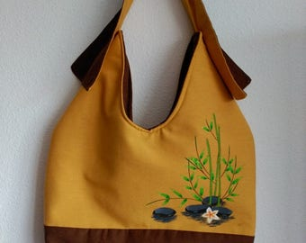 """Brown bag and yellow mustard canvas made and painted by hand """"Bamboo and stones"""""""