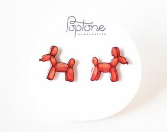 Balloon Dog Earrings, red balloon animal earrings, balloon dogs jewelry, balloon art
