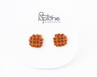 Waffle Earrings, waffle studs, breakfast kawaii earrings, mini waffle jewelry